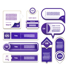 Set of blue-violet progress version step icons eps vector