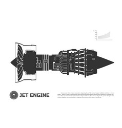 Silhouette jet engine aircraft vector