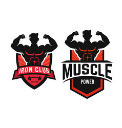 silhouette man with muscles emblem with text vector image