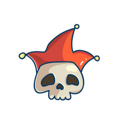 Skull character with clown hat vector