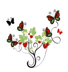 Strawberry plant with butterflies vector