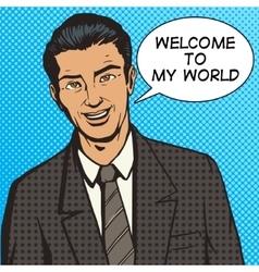 Successful businessman pop art style vector image