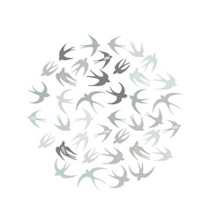 Swallows circle frame for your design vector