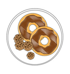 Sweet donut icon vector