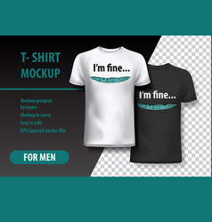 t-shirt mockup with funny phrase in two colors vector image