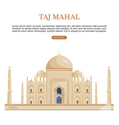taj mahal india famous building attraction vector image