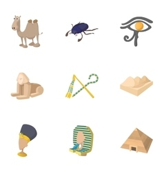 Tourism in Egypt icons set cartoon style vector