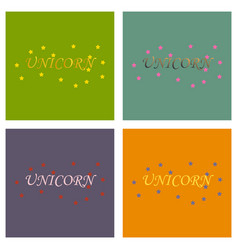 unicorn horn fairy lettering object vector image