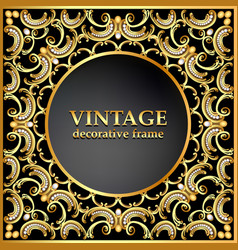 vintage background frame with gold ornaments vector image