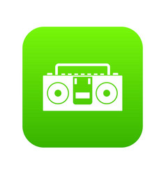 vintage tape recorder icon digital green vector image
