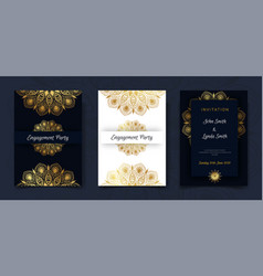 Vintage weeding invitation card design template vector