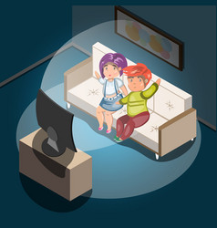 Watching tv at home man and woman in living room vector