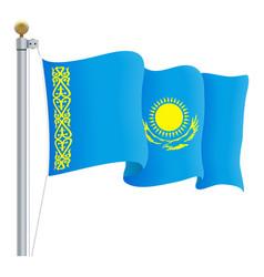 Waving kazakhstan flag isolated on a white vector