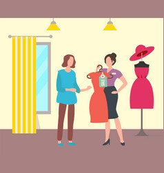 Woman in clothing store dress sale shop vector