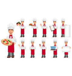 young professional chef set vector image