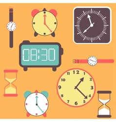 background with clocks and watches vector image