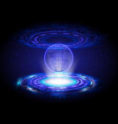 blue technology hologram world map circle vector image