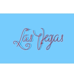 Las vegas one line modern lettering with famous vector