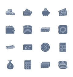 Money and financial silhouettes icons set vector image vector image