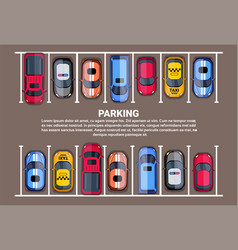 parking space top view with set of colorful cars vector image