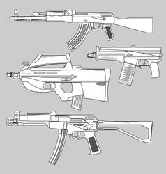 set automatic firearms pistol rifle machine vector image