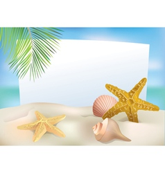 Beach blank paper vector image