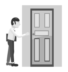 Businessman opens door icon gray monochrome style vector image