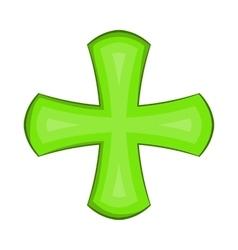 Green cross icon in cartoon style vector