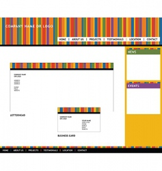 web template and stationery vector image