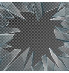 Broken glass window frame vector image