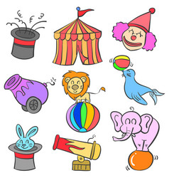 doodle of circus colorful style vector image