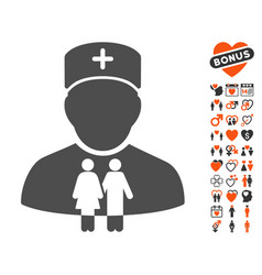 family doctor icon with lovely bonus vector image