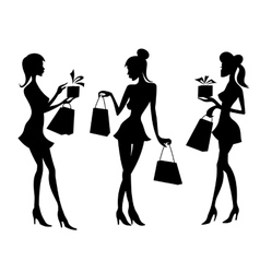 Girls and women with shopping bags vector image