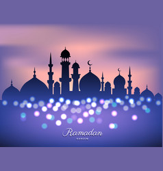 mosque silhouette in sunset sky and candles light vector image