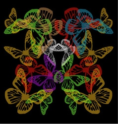 Multiple colorful butterflies background on black vector image vector image