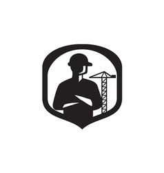 Builder Arms Folded Boom Crane Crest Retro vector image vector image