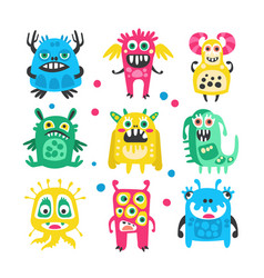 cartoon cute funny monsters aliens and bacterias vector image vector image