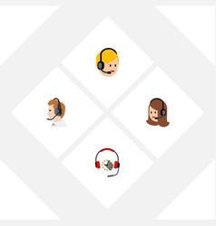 flat call set of call center telemarketing vector image