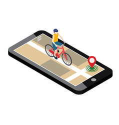 Isometric location mobile geo tracking male vector