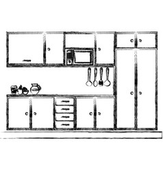 monochrome sketch of modern kitchen cabinets vector image