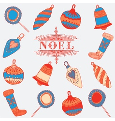 Noel card Christmas decorations vector image vector image