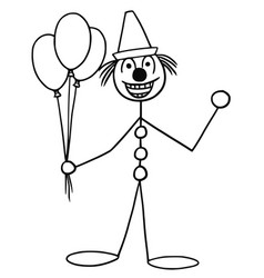 stickman cartoon of party circus clown buffoon vector image