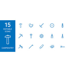 15 carpentry icons vector