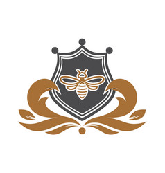 abstract bee shield logo vector image