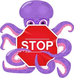 An octopus with a stop sign vector