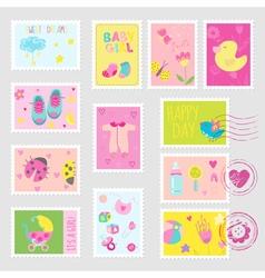 Baby girl stamps design elements vector