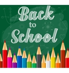 back to school background with Rainbow pencils vector image