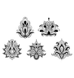 Black and white floral motifs persian style vector