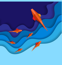 blue paper waves with fish vector image