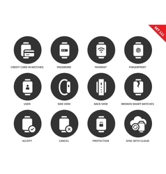 Business smartwatch icons on white background vector